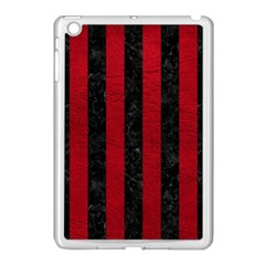 Stripes1 Black Marble & Red Leather Apple Ipad Mini Case (white) by trendistuff