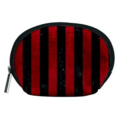 Stripes1 Black Marble & Red Leather Accessory Pouches (medium)  by trendistuff