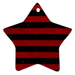 Stripes2 Black Marble & Red Leather Star Ornament (two Sides) by trendistuff
