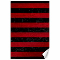 Stripes2 Black Marble & Red Leather Canvas 24  X 36  by trendistuff