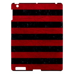 Stripes2 Black Marble & Red Leather Apple Ipad 3/4 Hardshell Case by trendistuff