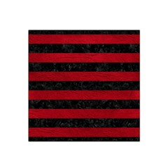 Stripes2 Black Marble & Red Leather Satin Bandana Scarf