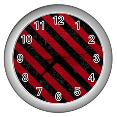 Stripes3 Black Marble & Red Leather Wall Clocks (silver)  by trendistuff