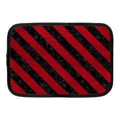 Stripes3 Black Marble & Red Leather Netbook Case (medium)