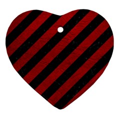 Stripes3 Black Marble & Red Leather (r) Heart Ornament (two Sides) by trendistuff