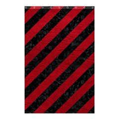 Stripes3 Black Marble & Red Leather (r) Shower Curtain 48  X 72  (small)  by trendistuff
