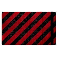 Stripes3 Black Marble & Red Leather (r) Apple Ipad 3/4 Flip Case
