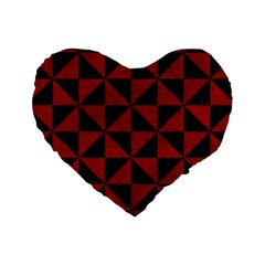Triangle1 Black Marble & Red Leather Standard 16  Premium Heart Shape Cushions by trendistuff