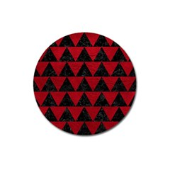 Triangle2 Black Marble & Red Leather Magnet 3  (round) by trendistuff