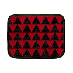 Triangle2 Black Marble & Red Leather Netbook Case (small)  by trendistuff