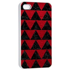 Triangle2 Black Marble & Red Leather Apple Iphone 4/4s Seamless Case (white) by trendistuff