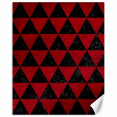 Triangle3 Black Marble & Red Leather Canvas 16  X 20   by trendistuff