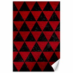 Triangle3 Black Marble & Red Leather Canvas 24  X 36