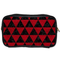Triangle3 Black Marble & Red Leather Toiletries Bags 2 Side