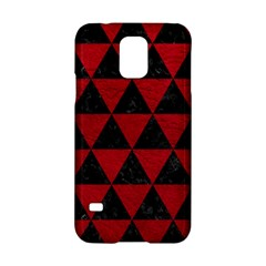 Triangle3 Black Marble & Red Leather Samsung Galaxy S5 Hardshell Case  by trendistuff
