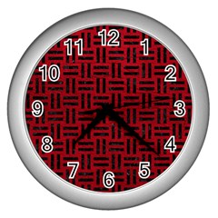 Woven1 Black Marble & Red Leather Wall Clocks (silver)  by trendistuff
