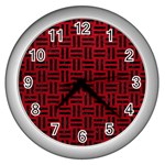 WOVEN1 BLACK MARBLE & RED LEATHER Wall Clocks (Silver)  Front