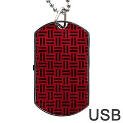 Woven1 Black Marble & Red Leather Dog Tag Usb Flash (one Side) by trendistuff
