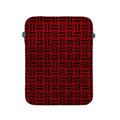 Woven1 Black Marble & Red Leather Apple Ipad 2/3/4 Protective Soft Cases by trendistuff