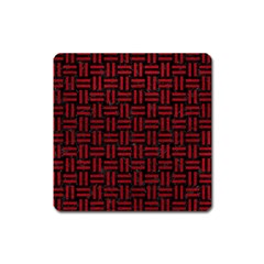 Woven1 Black Marble & Red Leather (r) Square Magnet by trendistuff