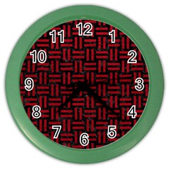 Woven1 Black Marble & Red Leather (r) Color Wall Clocks by trendistuff