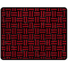 Woven1 Black Marble & Red Leather (r) Fleece Blanket (medium)  by trendistuff