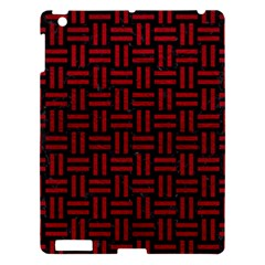 Woven1 Black Marble & Red Leather (r) Apple Ipad 3/4 Hardshell Case by trendistuff