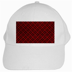 Woven2 Black Marble & Red Leather White Cap by trendistuff