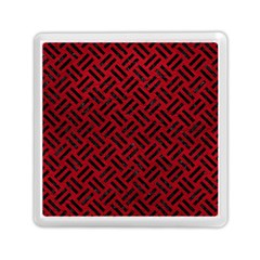 Woven2 Black Marble & Red Leather Memory Card Reader (square)  by trendistuff