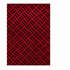 Woven2 Black Marble & Red Leather Large Garden Flag (two Sides)