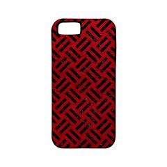 Woven2 Black Marble & Red Leather Apple Iphone 5 Classic Hardshell Case (pc+silicone) by trendistuff
