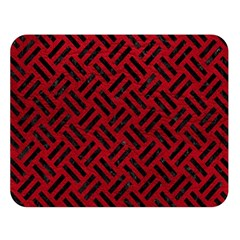Woven2 Black Marble & Red Leather Double Sided Flano Blanket (large)  by trendistuff
