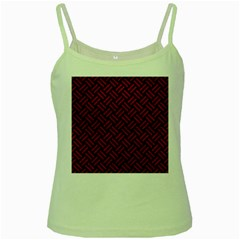 Woven2 Black Marble & Red Leather (r) Green Spaghetti Tank