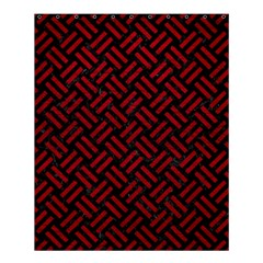 Woven2 Black Marble & Red Leather (r) Shower Curtain 60  X 72  (medium)  by trendistuff