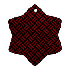 Woven2 Black Marble & Red Leather (r) Snowflake Ornament (two Sides) by trendistuff