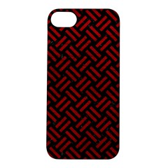 Woven2 Black Marble & Red Leather (r) Apple Iphone 5s/ Se Hardshell Case by trendistuff