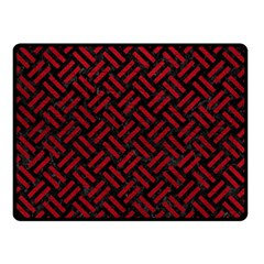 Woven2 Black Marble & Red Leather (r) Double Sided Fleece Blanket (small)  by trendistuff