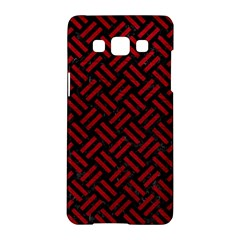 Woven2 Black Marble & Red Leather (r) Samsung Galaxy A5 Hardshell Case  by trendistuff