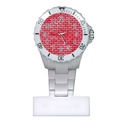 Brick1 Black Marble & Red Watercolor Plastic Nurses Watch by trendistuff