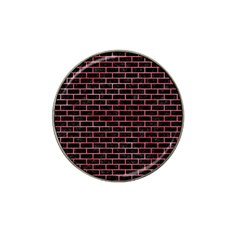 Brick1 Black Marble & Red Watercolor (r) Hat Clip Ball Marker (4 Pack) by trendistuff