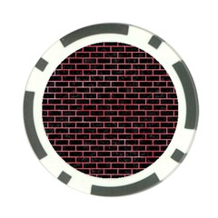 Brick1 Black Marble & Red Watercolor (r) Poker Chip Card Guard (10 Pack) by trendistuff