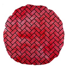 Brick2 Black Marble & Red Watercolor Large 18  Premium Round Cushions by trendistuff