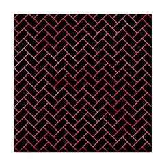 Brick2 Black Marble & Red Watercolor (r) Tile Coasters by trendistuff