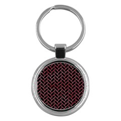 Brick2 Black Marble & Red Watercolor (r) Key Chains (round)  by trendistuff