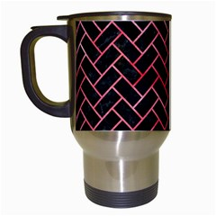 Brick2 Black Marble & Red Watercolor (r) Travel Mugs (white) by trendistuff