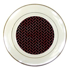 Brick2 Black Marble & Red Watercolor (r) Porcelain Plates by trendistuff