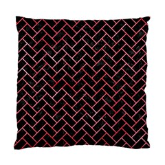 Brick2 Black Marble & Red Watercolor (r) Standard Cushion Case (two Sides) by trendistuff