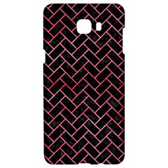Brick2 Black Marble & Red Watercolor (r) Samsung C9 Pro Hardshell Case  by trendistuff