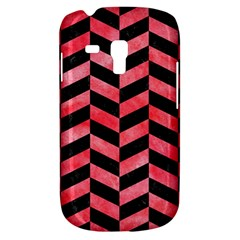 Chevron1 Black Marble & Red Watercolor Galaxy S3 Mini by trendistuff