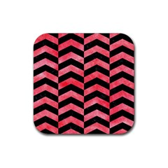 Chevron2 Black Marble & Red Watercolor Rubber Square Coaster (4 Pack)  by trendistuff
